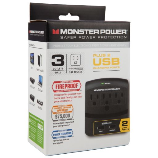 Monster Core Power 3-Outlet Wall Tap with USB Charger