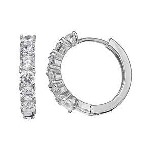 PRIMROSE Sterling Silver Cubic Zirconia Huggie Hoop Earrings