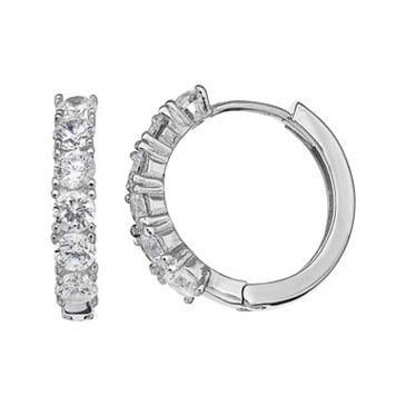 PRIMROSE Sterling Silver Cubic Zirconia Huggie Hoop Earrings