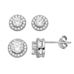 PRIMROSE Sterling Silver Cubic Zirconia Halo Stud Earring Set