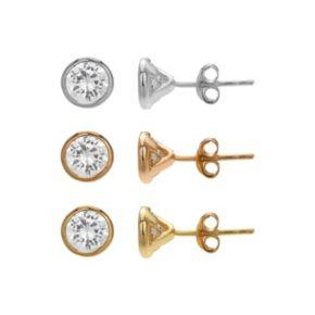 PRIMROSE Cubic Zirconia Sterling Silver Stud Earring Set