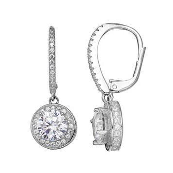 PRIMROSE Sterling Silver Cubic Zirconia Halo Drop Earrings