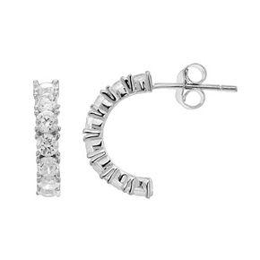 PRIMROSE Cubic Zirconia Sterling Silver Semi-Hoop Earrings