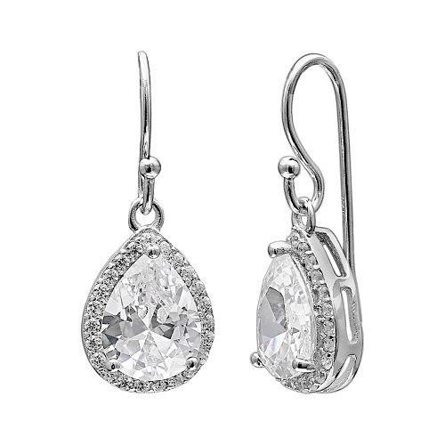PRIMROSE Sterling Silver Cubic Zirconia Teardrop Halo Earrings