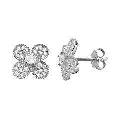 PRIMROSE Sterling Silver Cubic Zirconia Clover Stud Earrings