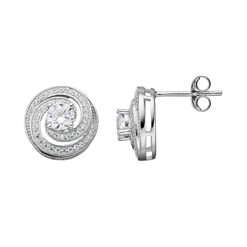 PRIMROSE Sterling Silver Cubic Zirconia Swirl Stud Earrings