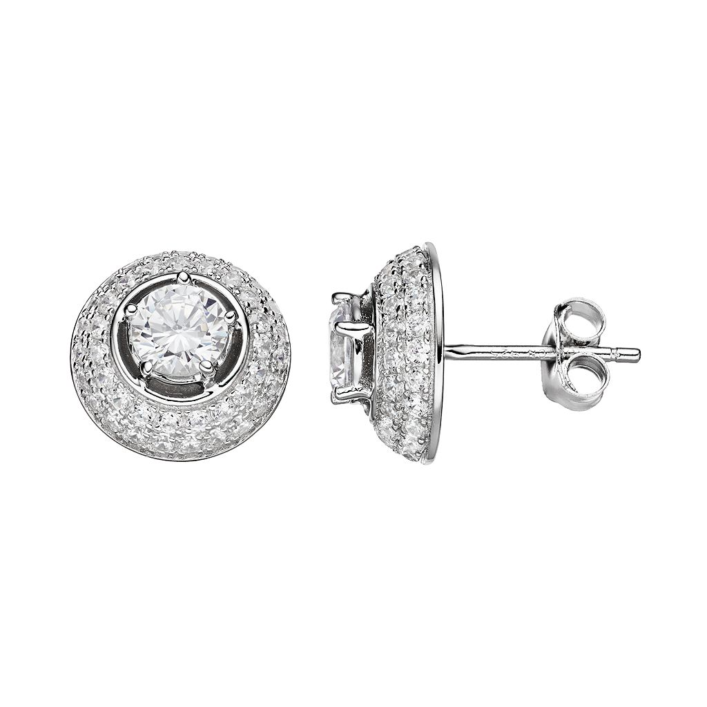 PRIMROSE Sterling Silver Cubic Zirconia Halo Dome Stud Earrings