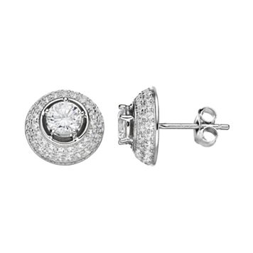 PRIMROSE Sterling Silver Cubic Zirconia Halo Dome Stud Earrings