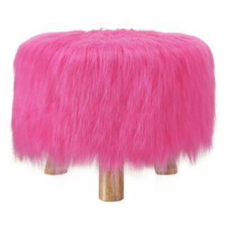 Azalea Pink Faux-Fur Stool