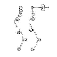 PRIMROSE Sterling Silver Cubic Zirconia Curved Drop Earrings