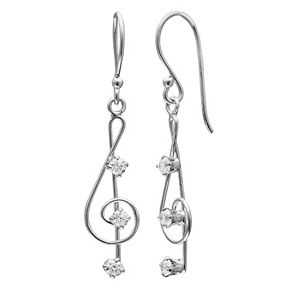 PRIMROSE Sterling Silver Cubic Zirconia Treble Clef Drop Earrings
