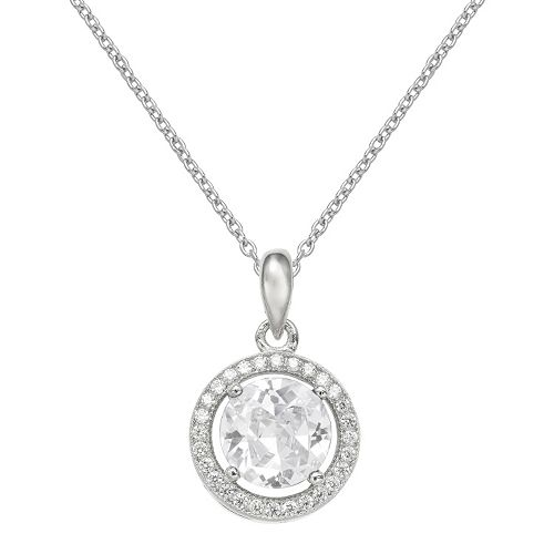 PRIMROSE Sterling Silver Cubic Zirconia Halo Pendant Necklace