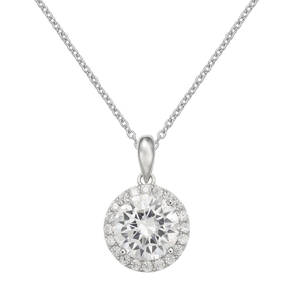 PRIMROSE Cubic Zirconia Sterling Silver Halo Pendant Necklace