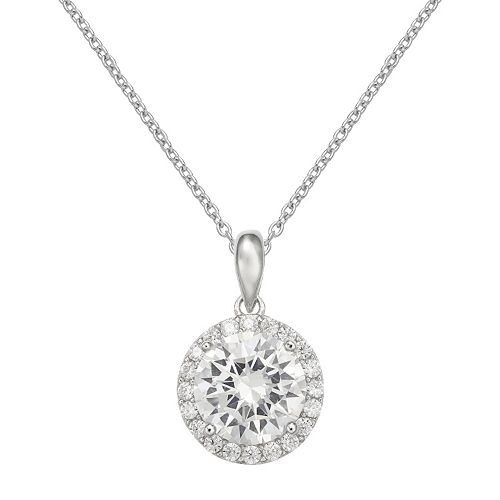 PRIMROSE Cubic Zirconia Sterling Silver Halo Pendant Necklace