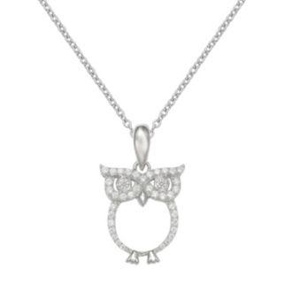 PRIMROSE Sterling Silver Cubic Zirconia Owl Pendant Necklace