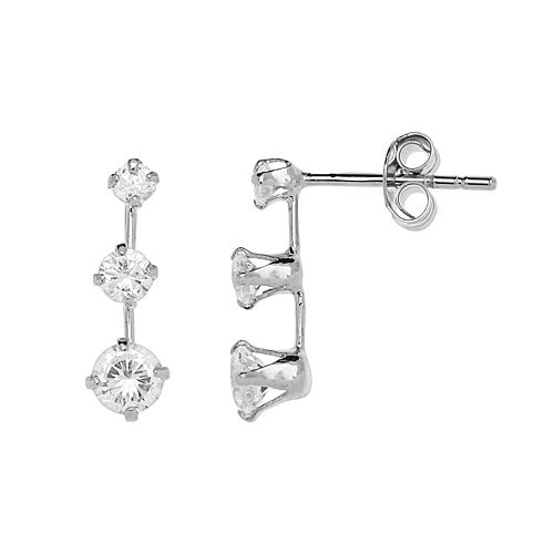 PRIMROSE Sterling Silver Cubic Zirconia Graduated Drop Earrings