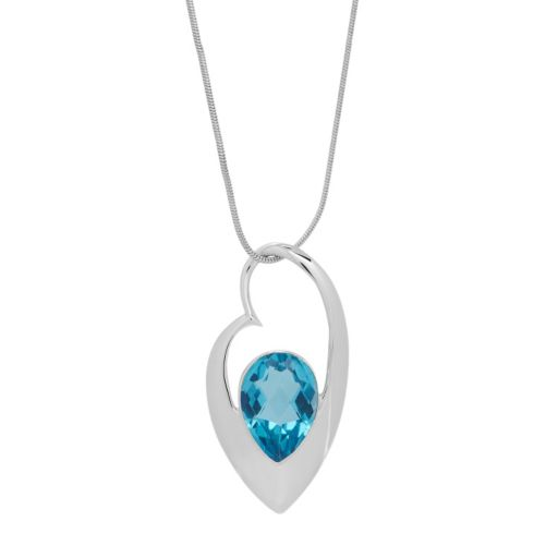 Sterling Silver Paraiba Quartz Teardrop Pendant Necklace