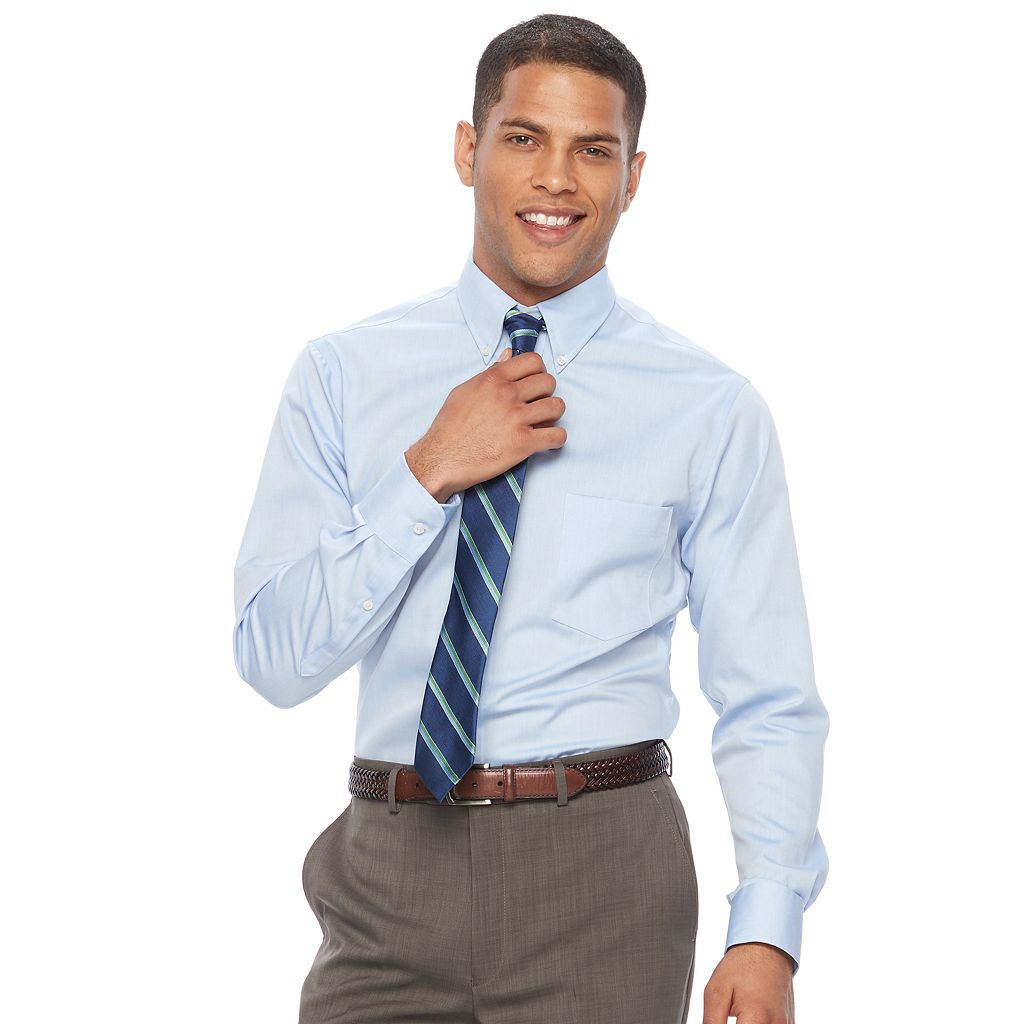 Men's Chaps Regular Fit Non Iron Stretch Button-down Collar Dress Shirt