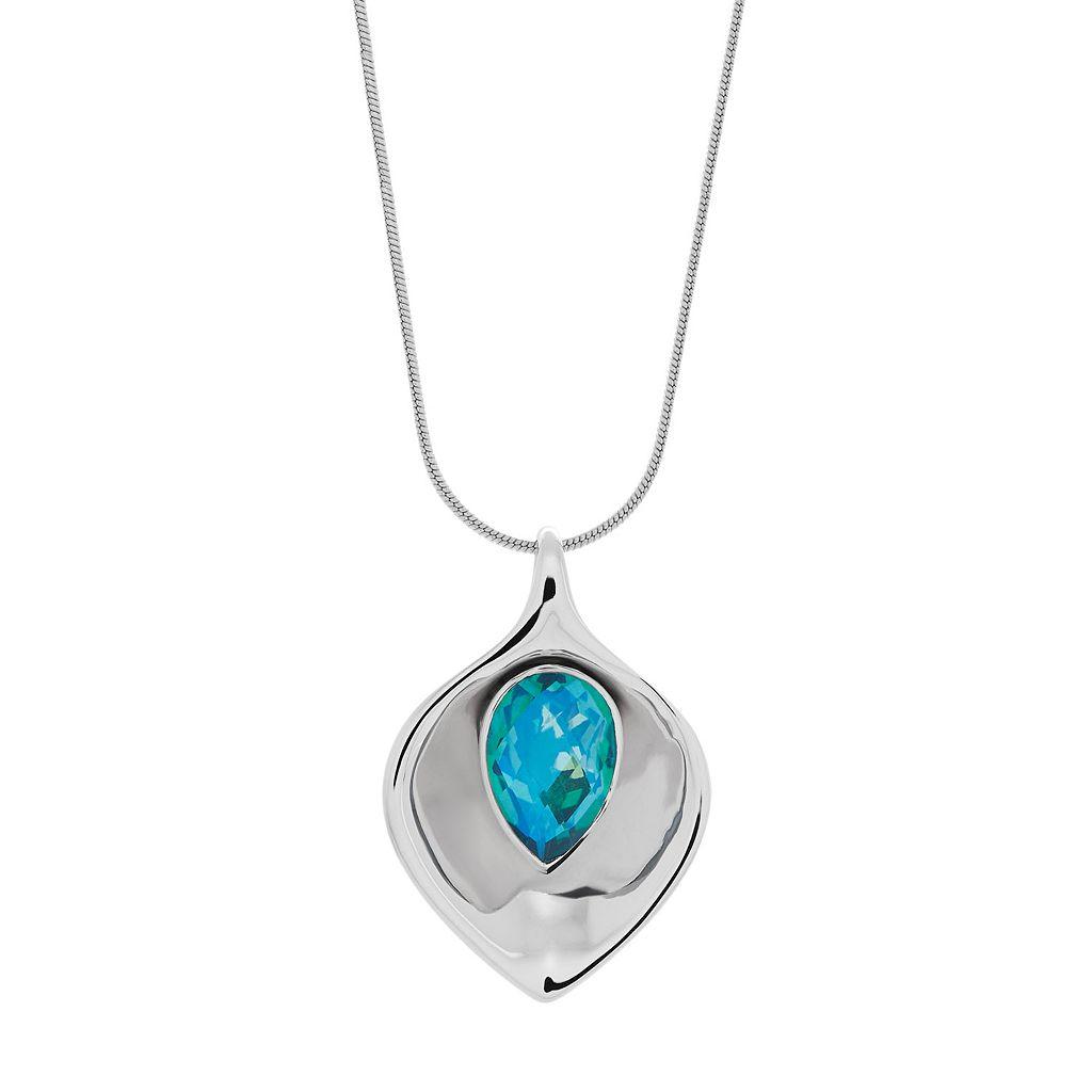 Sterling Silver Carribean Quartz Pendant Necklace