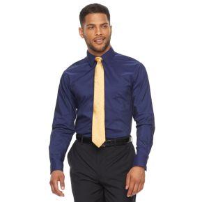 Men's Chaps Regular-Fit Wrinkle-Free Herringbone Dress Shirt