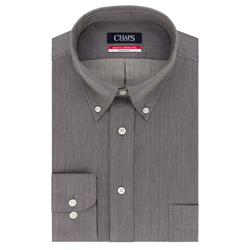 Men's Chaps Regular-Fit Wrinkle-Free Herringbone Dress Shirt