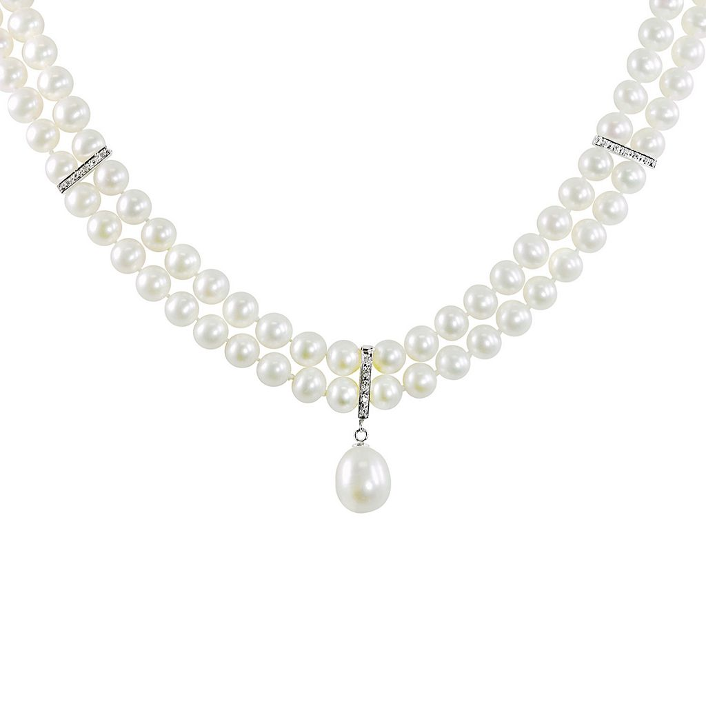 14k White Gold Freshwater Cultured Pearl & Diamond Accent Necklace