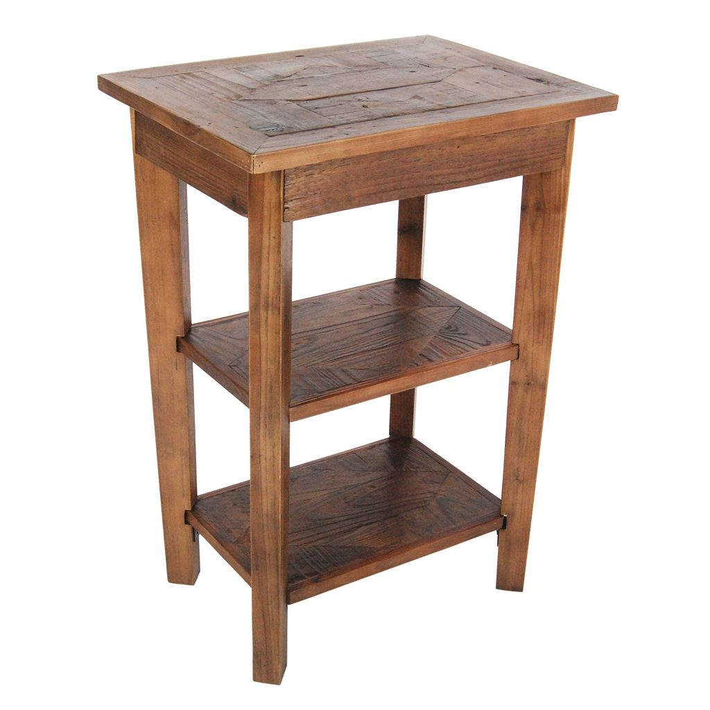 Alaterre Revive Reclaimed Wood 2-Shelf End Table