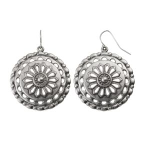 Openwork Textured Medallion Drop Earrings