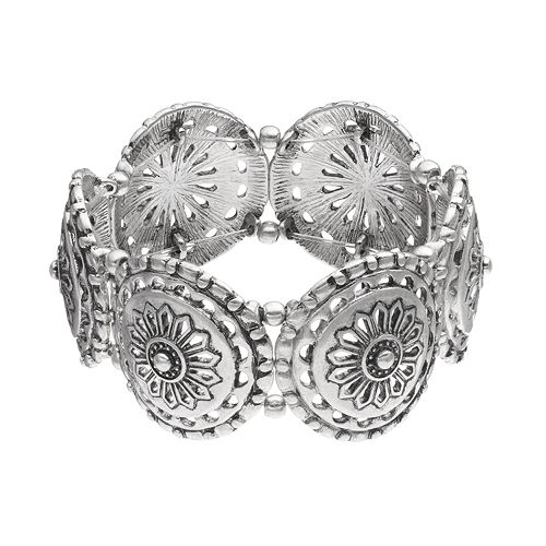 Openwork Medallion Stretch Bracelet