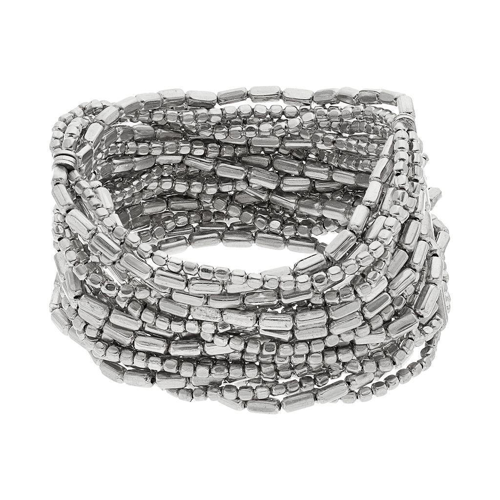 Beaded Multi Strand Stretch Bracelet