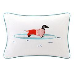 HipStyle Oscar Surfboard Dog Oblong Throw Pillow