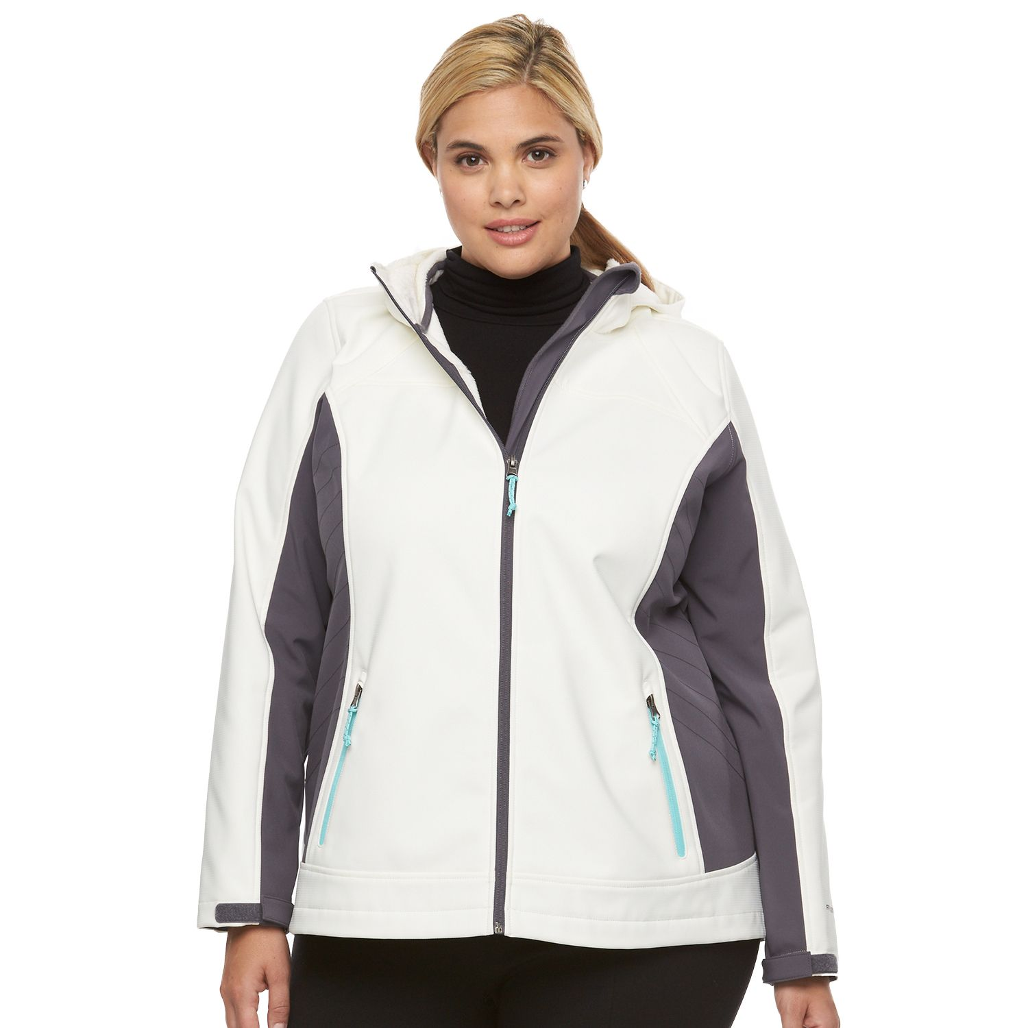 Plus Size Free Country Hooded Trapunto Soft Shell Jacket