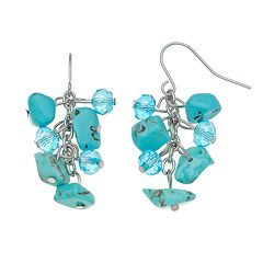 Beaded Simulated Turquoise Cluster Drop Earrings