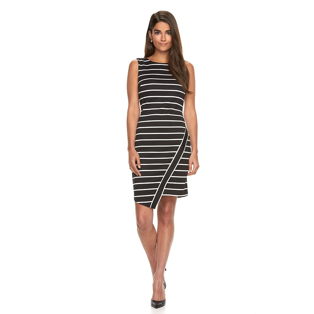 Petite Suite 7 Asymmetrical Striped Sheath Dress