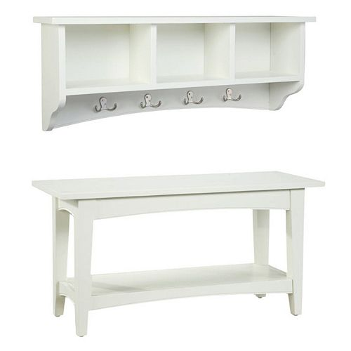 Alaterre Shaker Cottage Neutral Bench & Coat Hook Set