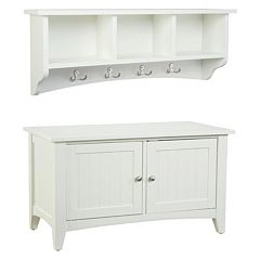 Alaterre Shaker Cottage Neutral Storage Bench & Coat Hook Set