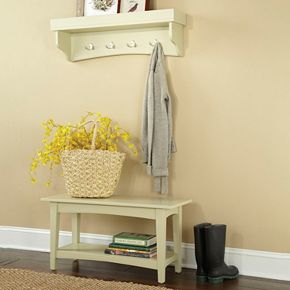 Alaterre Shaker Cottage Neutral Bench & Shelf Coat Hook Set
