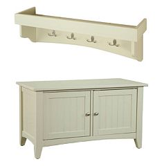 Alaterre Shaker Cottage Neutral Storage Bench & Shelf Coat Hook Set