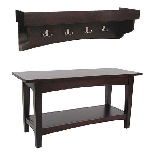 Alaterre Shaker Cottage Bench & Shelf Coat Hook Set