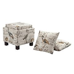 Madison Park 3-pc. Liaison Ottoman & Pillow Set