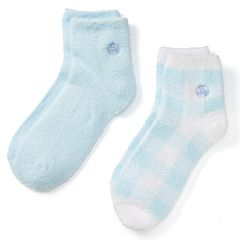 Earth Therapeutics 2-pk. Plaid & Solid Aloe Socks