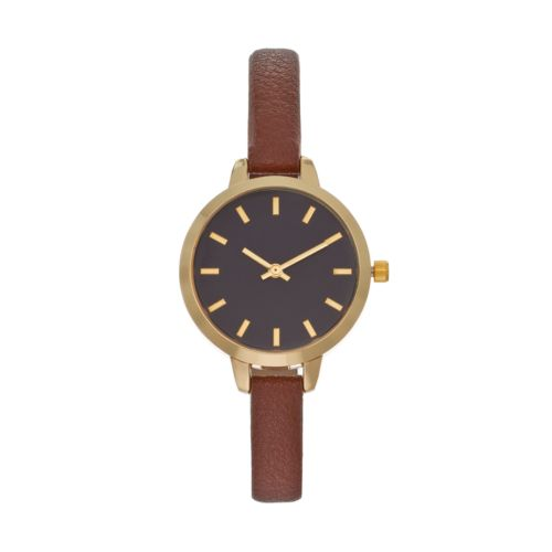 Women's Brown Faux Leather Watch