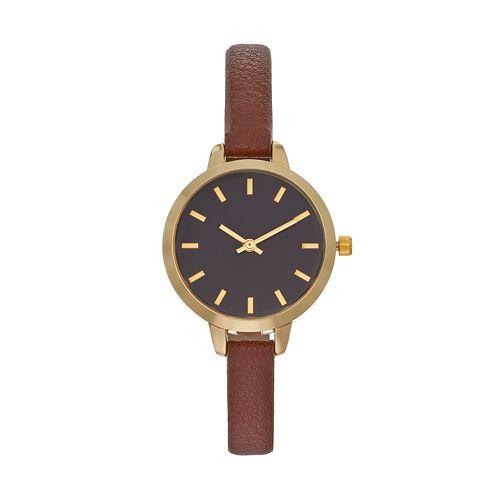 Women's Brown Faux Leather Watch