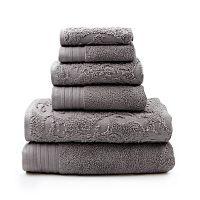 Pacific Coast Textiles 6-piece Leaf Swirl Jacquard Solid Towel Set