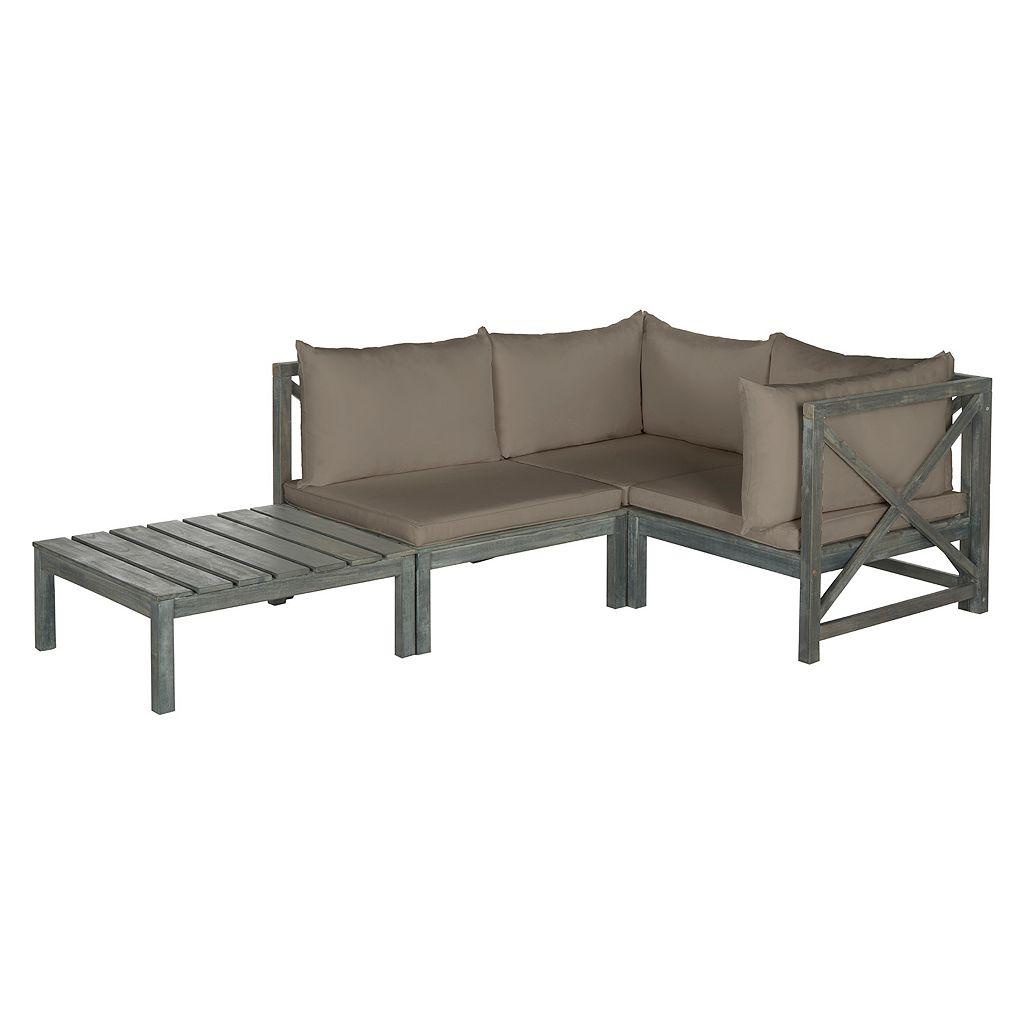 Safavieh Lynwood Outdoor Sectional Sofa & Coffee Table 3-piece Set