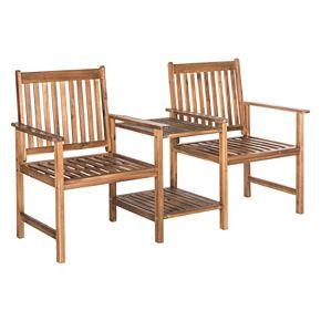 Safavieh Brea Twin Brown Patio Seating Bench