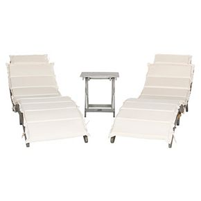 Safavieh Pacifica White Gray Patio Lounge Chair & End Table 3-piece Set