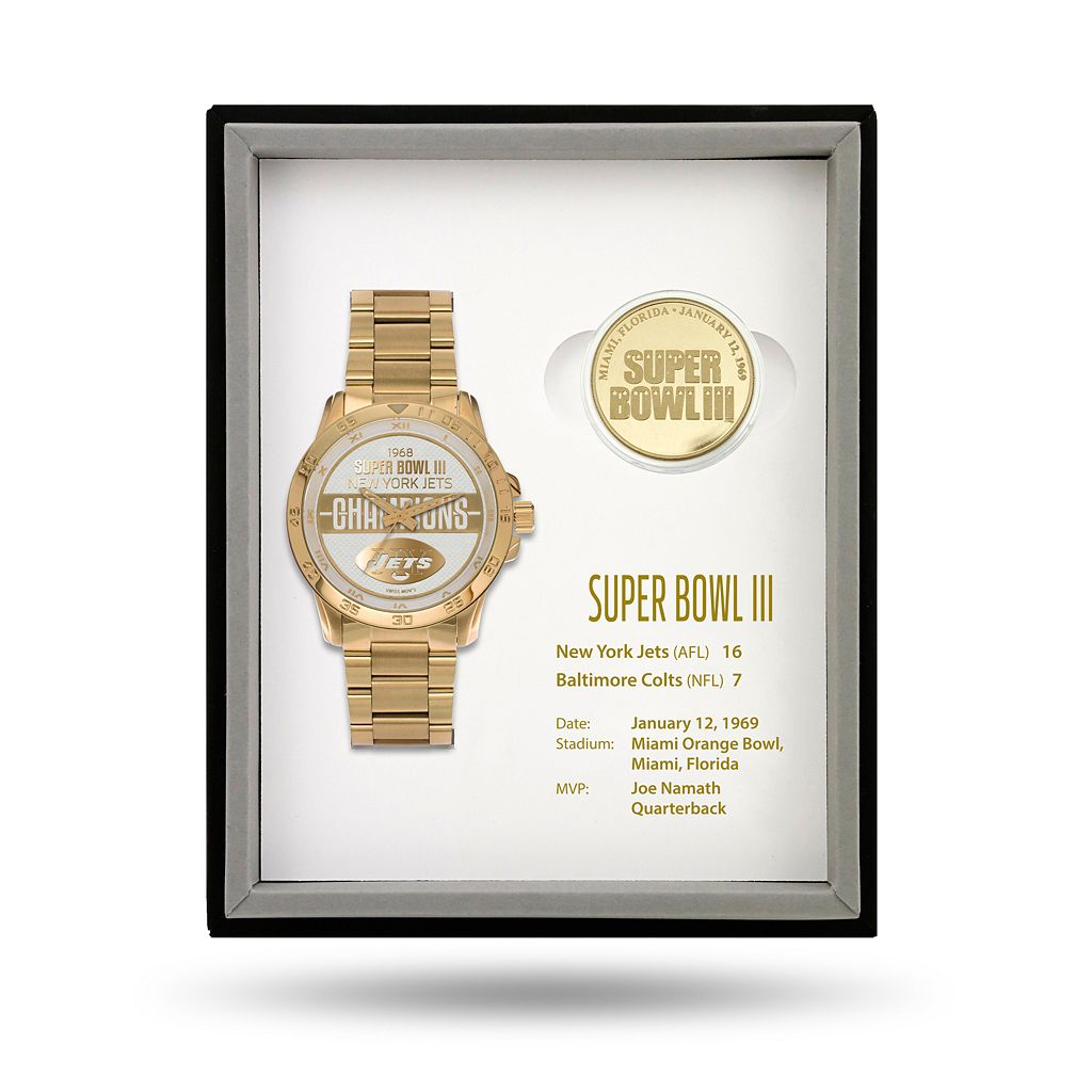 New York Jets Super Bowl III Watch & Coin Commemorative Set