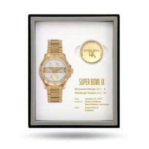 Pittsburgh Steelers Super Bowl IX Watch & Coin Commemorative Set