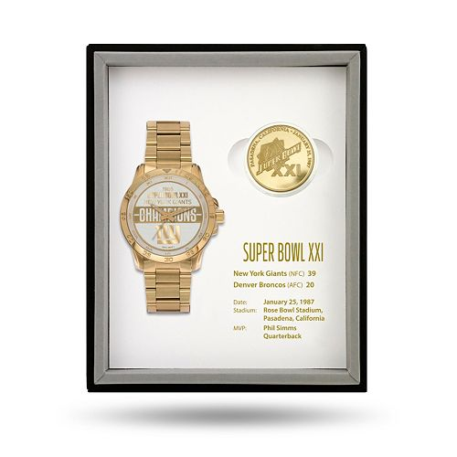 New York Giants Super Bowl XXI Watch & Coin Commemorative Set